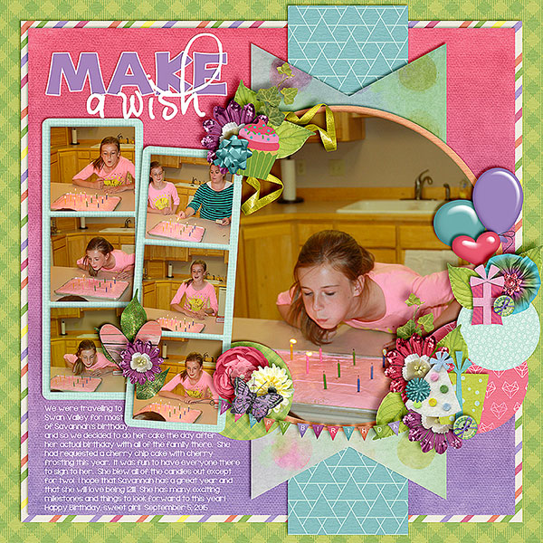 Created by scrappingirl. I love the photo strips! The clusters are beautiful as well.