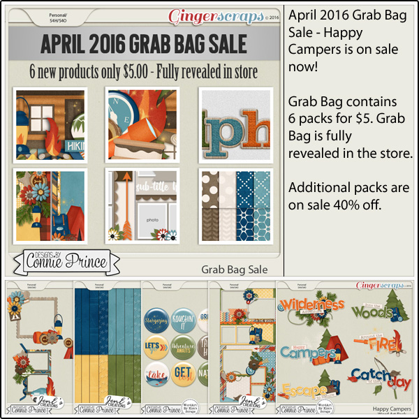 Grab Bag: http://store.gingerscraps.net/April-2016-Grab-Bag-Happy-Campers.html WordArt Pack: http://store.gingerscraps.net/Happy-Campers-WordArt-Pack.html Flair Pack: http://store.gingerscraps.net/Happy-Campers-Flair-Pack.html Cluster Pack: http://store.gingerscraps.net/Happy-Campers-Cluster-Pack.html Embossed Papers: http://store.gingerscraps.net/Happy-Campers-Embossed-Papers.html Quick Pages: http://store.gingerscraps.net/Happy-Campers-Quick-Pages.html