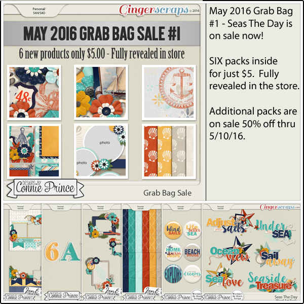 Grab Bag: http://store.gingerscraps.net/May-2016-Grab-Bag-1-Seas-The-Day.html WordArt Pack: http://store.gingerscraps.net/Seas-The-Day-WordArt-Pack.html Flair Pack: http://store.gingerscraps.net/Seas-The-Day-Flair-Pack.html Alpha Pack AddOn: http://store.gingerscraps.net/Seas-The-Day-Alpha-Pack-AddOn.html Cluster Pack: http://store.gingerscraps.net/Seas-The-Day-Cluster-Pack.html Embossed Papers: http://store.gingerscraps.net/Seas-The-Day-Embossed-Papers.html Quick Pages: http://store.gingerscraps.net/Seas-The-Day-Quick-Pages.html