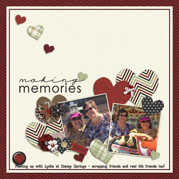 Created by lorigaud. I love the white space with the hearts trailing down to the cluster of pictures.