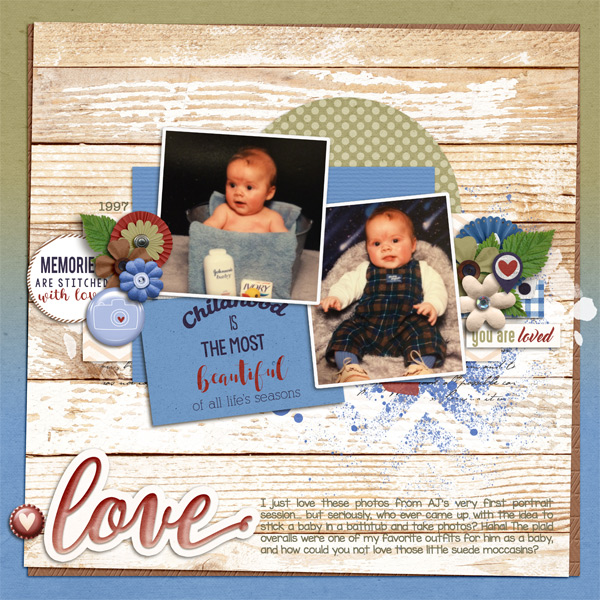 """Created by lorigaud. I love the big """"love"""" word art next to the journaling!"""